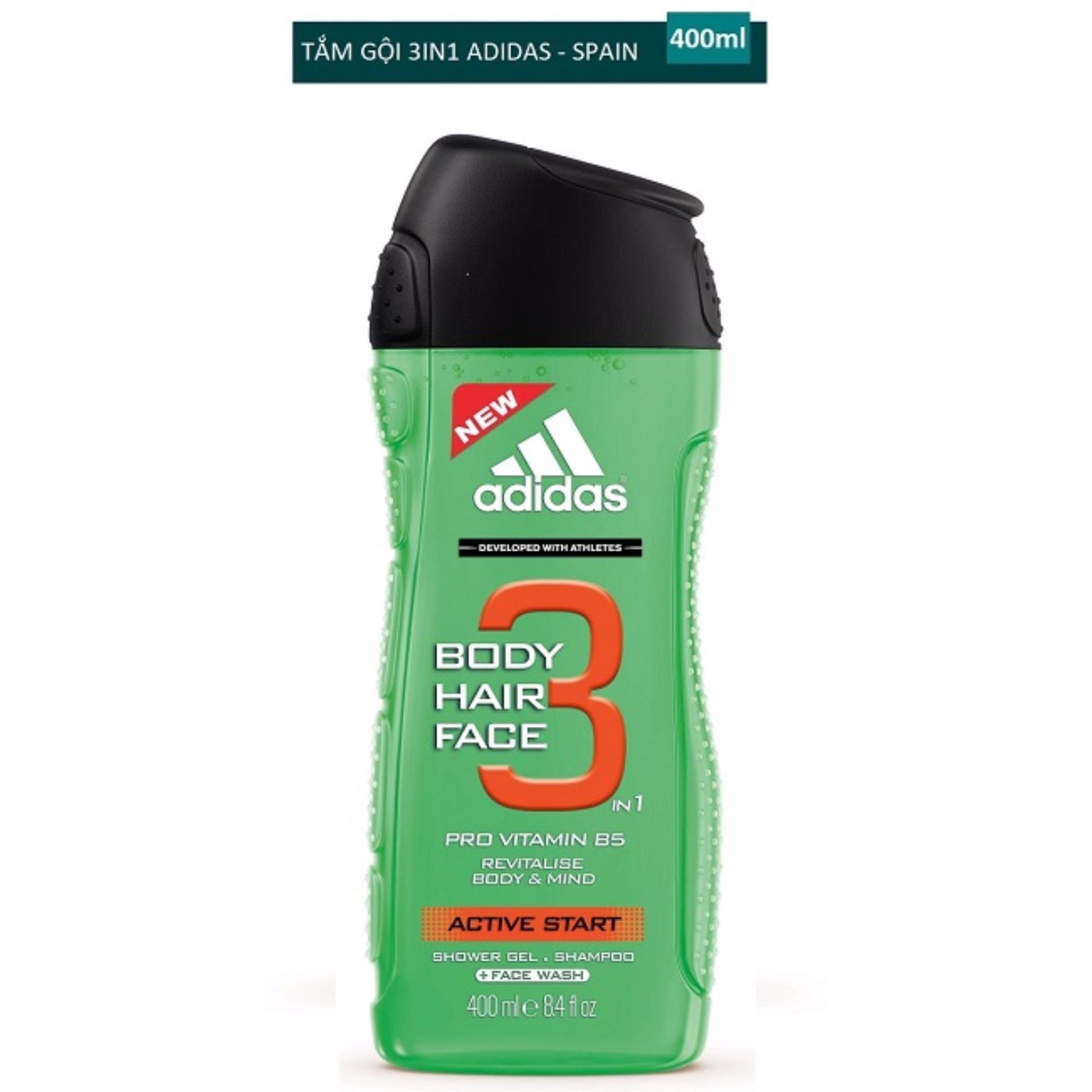 Tư vấn mua Sữa tắm gội rửa mặt 3 trong 1 cho nam 400ml Adidas 3 in 1 active start