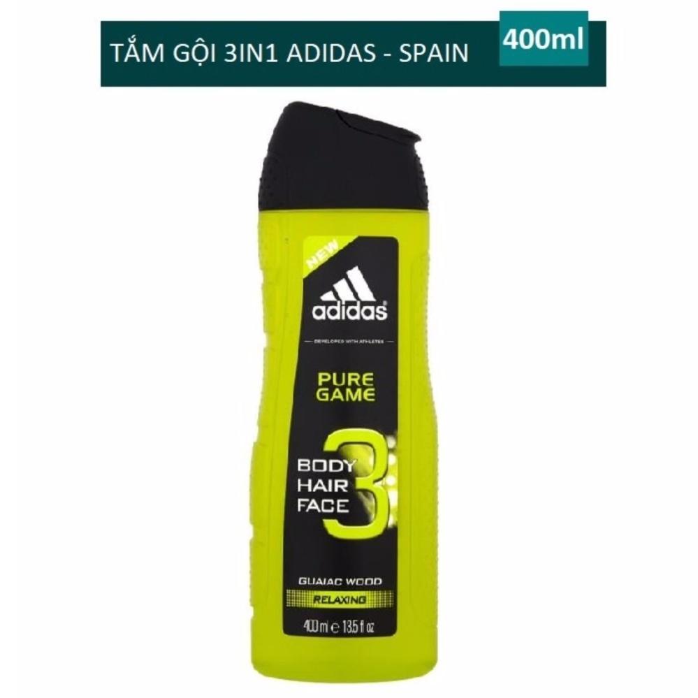 Chi tiết sản phẩm Sữa tắm gội rửa mặt 3 trong 1 cho nam 400ml Adidas 3 in 1 Pure game