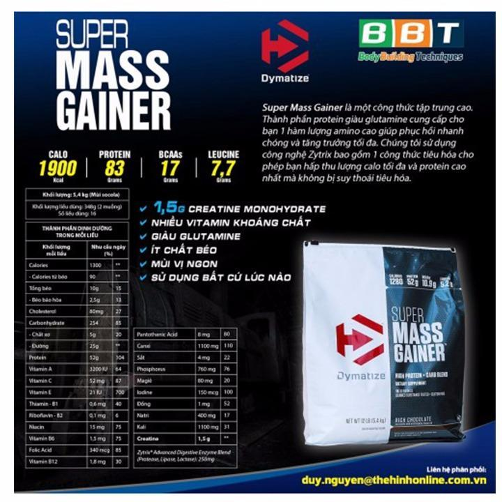 Super Mass Gainer của Dymatize tăng cân hiệu quả Bịch 5.4kg - chính hãng BBT
