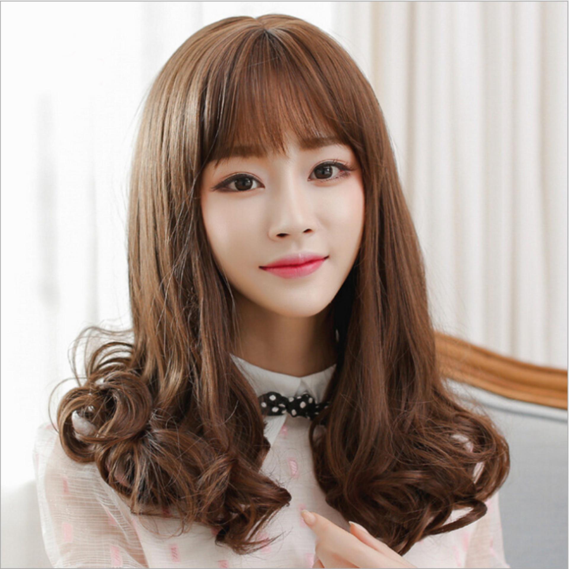 Mẫu sản phẩm Tóc giả nữ Hàn Quốc cao cấp có da đầu + tặng kèm Lưới trùm tóc – TG5465 ( MÀU NÂU ĐẬM HẠT DẺ)