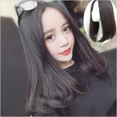 Tóc giả nữ Hàn Quốc cao cấp có da đầu + tặng Lưới trùm tóc – TG8075 ( MÀU ĐEN )