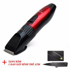 Tông đơ cắt tóc cho trẻ kemei giao màu ngẫu nhiên+ Tặng kèm dao atm gấp hình (Đen)