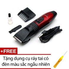 Tông đơ cắt tóc trẻ em Kemei 730 (Đỏ) + Tặng dụng cụ lấy ráy tai có đèn