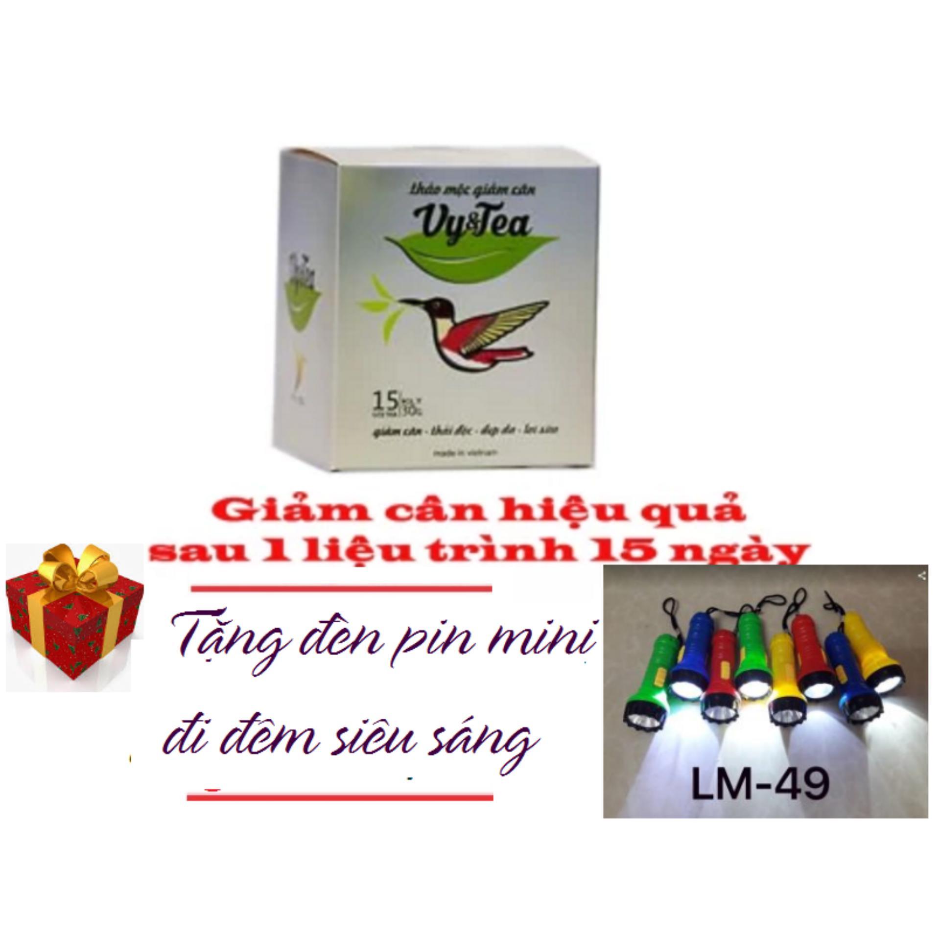 Trà thảo mộc giảm cân Vy Tea – 15 gói Hàng Chính Hãng – Tặng Đèn Pin Mini Siêu Sáng