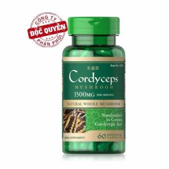 Viên uống đông trùng hạ thảo bồi bổ sức khỏe, tăng cường sinh lý, hỗ trợ tim mạch Puritan's Pride Cordyceps Mushroom 750mg 60 viên  hiệu quả 248.000 đ