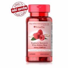 Viên uống hỗ trợ giảm cân Puritan's Pride Raspberry Ketones & White Kidney Bean 600mg Complex 60 viên HSD tháng 9/2019
