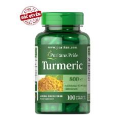 Viên uống nghệ hỗ trợ hệ tiêu hóa, dạ dày, giảm viêm khớp, curcuma longa Puritan's Pride Turmeric 800mg 100 viên HSD tháng 2/2020