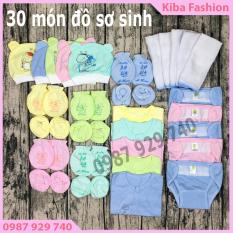 SET 30món đồ dùng cho bé sơ sinh cao cấp ( 5 áo DÀI TAY + 5bộ bao tay+ 5 bao chân + 5 ( mũ )nón + 5tã dán + 5 khăn sữa 2 lớp) loại 1