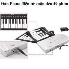 Đàn piano điện tử bàn phím cuộn dẻo 49 keys (Trắng phối đen) + Tặng kẹp chống muỗi tinh dầu / ĐÀN PIANO ĐIỆN KEYBOARD ĐÀN PIANO 49 PHÍM ĐÀN PIANO CHO NGƯỜI MỚI HỌC ĐÀN ORGAN – Hàng Nhập Khẩu