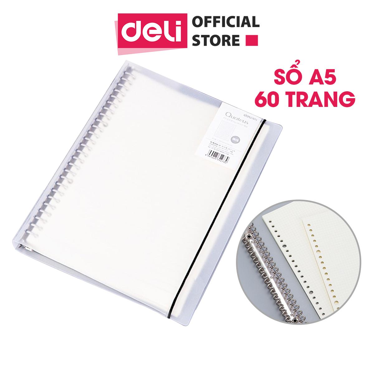 Sổ tay còng A5 Deli – Sổtay kế hoạch cá nhân – Bìa trong cứng – Có thể thay lõi sổ – Lõi ô vuông/kẻ ngang – HA560/NA560