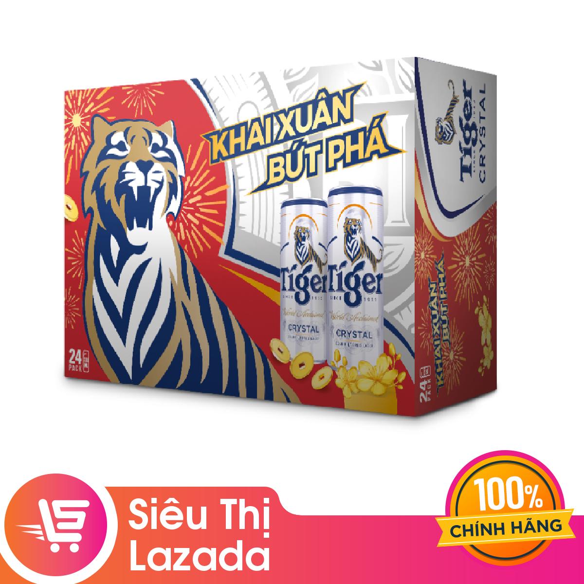 [Siêu thị Lazada] [Freeship + voucher 20k] Thùng 24 lon Tiger Crystal bao bì tết – Giới hạn 5 sản phẩm/khách hàng