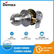 Khóa cửa tay nắm tròn WC Nhà vệ sinh Demax LK300 SS loại tốt, không chìa khóa, Thép không gỉ SUS 304, Hợp kim kẽm, Bảo hành chính hãng 01 năm