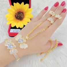 Bộ Trang sức Mạ Vàng , Bộ Trang Sức Nữ Mặt Trái Tim Họa Tiết Hàn Quốc Đính Đá Pha Lê Sáng Lấp Lánh Không Phai Màu Thiết Kế Sang Trọng Quý Phái – KADO shop – B4180727 – Đeo Đi Làm Đi Tiệc Sang Trọng – Nỗi Bật Quý Phái