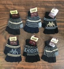 combo 6 đôi găng tay len, 2 mẫu : cắt 5 ngón và không cắt ,họa tiết thổ cẩm, dành cho nam & nữ , ảnh thật