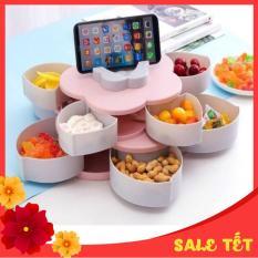 Khay đựng mứt tết, bánh kẹo hoa quả 2 tầng 10 cánh xoay 360 độ, có kèm khe giá đỡ điện thoại thông minh tiện lợi