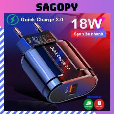 Củ sạc nhanh 18W-3A có chế độ QC 3.0, cốc sạc dùng cho điện thoại iphone, ipad, android, tai nghe i12 zin giống hoco – SAGOPY