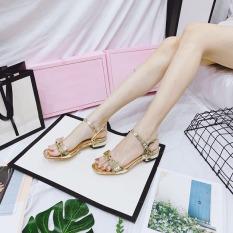 (Có mã miễn ship) Giày nữ, Giày cao gót nữ, Giày sandal nữ đi học PinkShopGiayDep kiểu dáng thắt nơ lên chân sang trọng