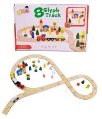 Bộ mô hình đường ray xe lửa gỗ 48 chi tiết