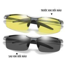 Kính đổi màu đi ngày và đêm gọng nhôm magiê nhẹ, mắt kính polarized phân cực, chống UV – MK1903