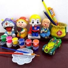 Tô Tượng trẻ em, bộ 6 tượng cao 9-11cm tặng 12 màu, 2 cọ, 1 vỉ.