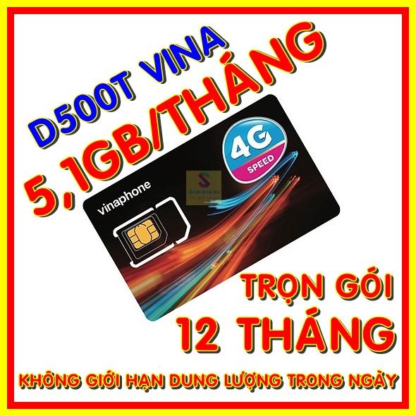 Sim 4G Vinaphone trọn gói 1 năm không nạp tiền - Sim 4G Vina D500T- Shop Sim Giá Rẻ