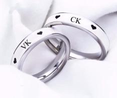 Nhẫn cặp đôi VK-CK viền sơn trắng Nano cực đẹp và ý nghĩa (tặng hộp đựng nhẫn cực xinh)