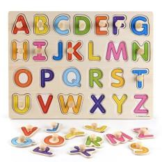 Đồ chơi bảng ghép gỗ bảng chữ cái loại 1 có núm 22,5×30 cm