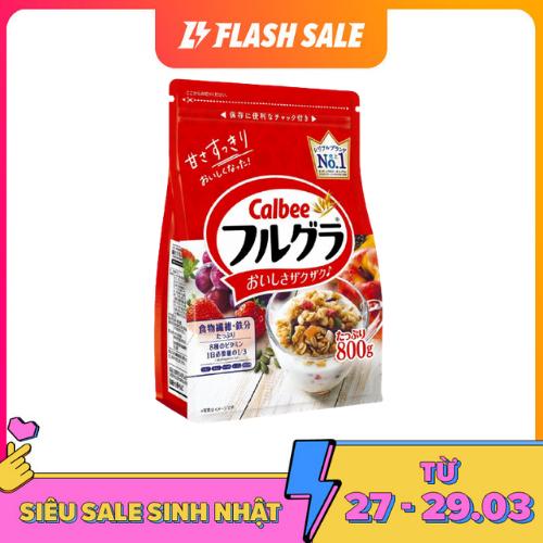 [ DATE T7/2021 ] Ngũ cốc Calbee màu đỏ 800g Nhật Bản