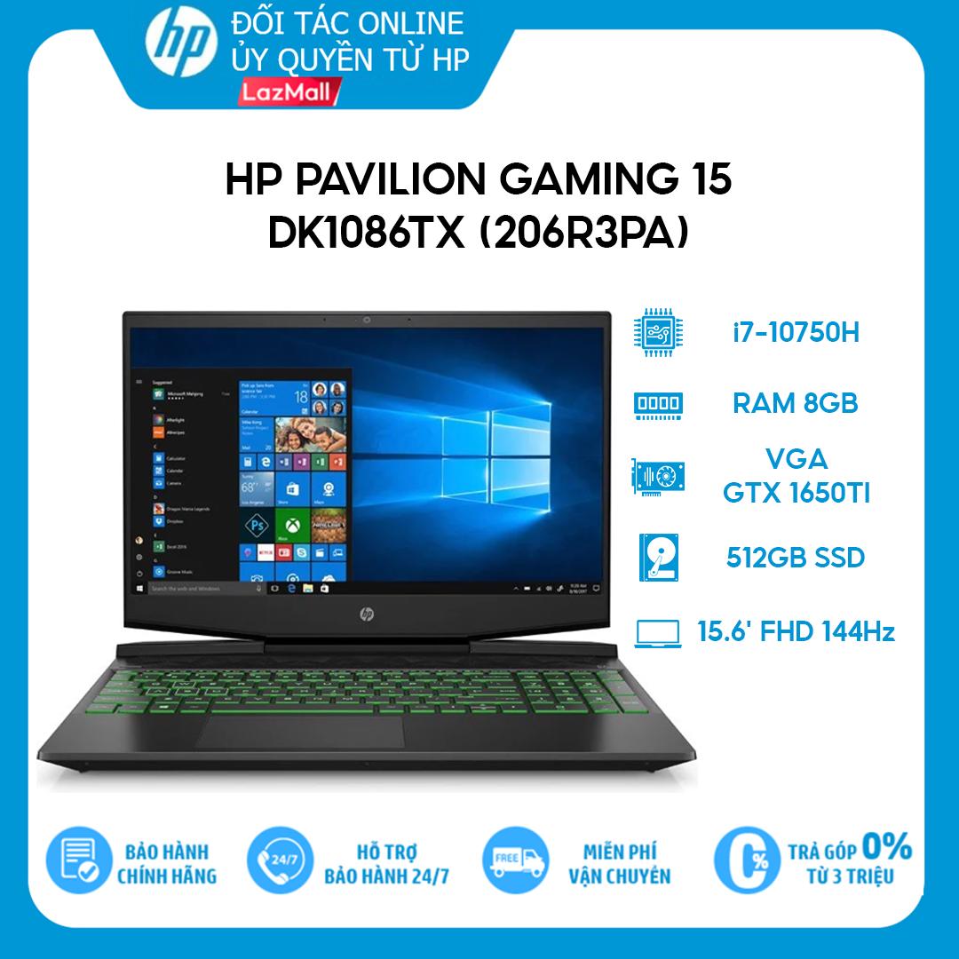 [Trả góp 0%] Laptop HP Pavilion Gaming 15-dk1086TX (206R3PA) (i7-10750H | 8GB | 512GB | VGA GTX 1650Ti 4GB | 15.6 FHD 144Hz | Win 10)