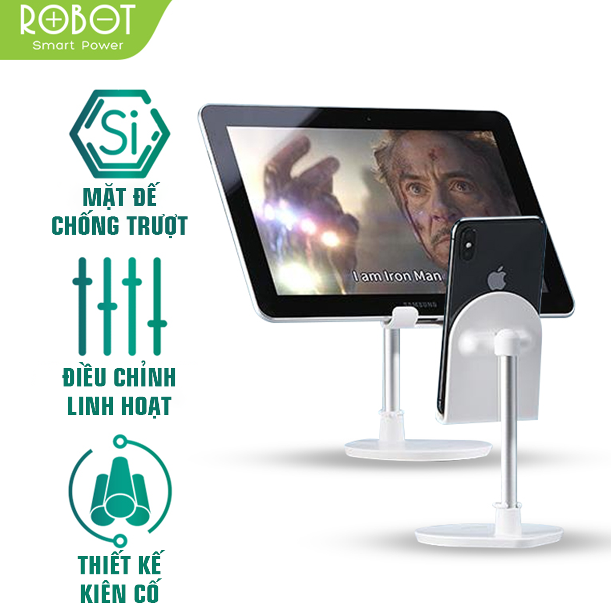 [Bảo Hành 12 tháng] Giá Đỡ Điện Thoại ROBOT RT-US05 Hợp Kim Nhôm Cao Cấp Tương Thích Với Tất Cả Điện Thoại Di Động iPhone Samsung OPPO VIVO – Hàng chính hãng