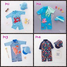 Đồ bơi liền thân cho bé kèm mũ (nhiều mẫu)