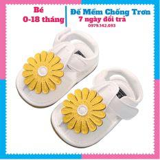 Giày Tập Đi Em Bé,Dép Tập Đi Đính Hoa Vàng Xinh Xắn Cho Bé Gái 0-18 tháng