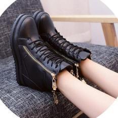 Giày boot nữ cao cổ đế độn phong cách Hàn Quốc B042