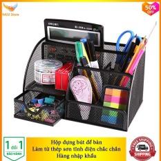 Hộp Đựng Bút để bàn cao cấp NS06 (hàng nhập khẩu) bằng thép sơn tĩnh điện chắc chắn – Hộp đựng bút đa năng, hộp đựng viết, hộp đựng bút văn phòng, hộp đựng bút học sinh, khay đựng bút – NASI Store