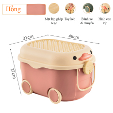 Thùng đựng đồ chơi cho bé KAVY hình con vịt có bánh xe, tay cầm nắp thùng xếp lego có thể đựng quần áo, sách vở