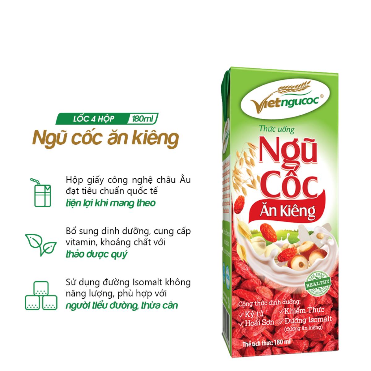 Thức uống Ăn kiêng uống liền Việt Ngũ Cốc lốc 4 hộp 180ml