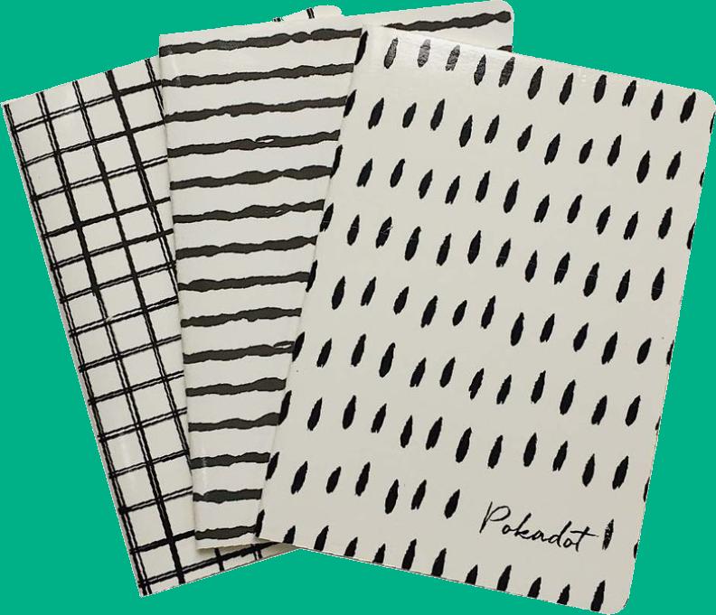 Combo 12 vở kẻ ngang Pokadot (đen trắng) - 80 trang