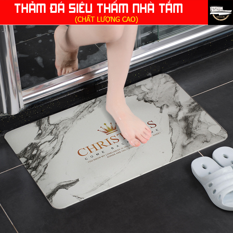 Thảm lau chùi chân phòng tắm bằng bột đá thạch anh siêu thấm sang trọng 60x40cm (9 mẫu mã lựa chọn) + tặng kèm lưới chống trơn trượt