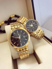 đồng hồ đôi nam nữ baishuns dây vàng mặt đen BS0400