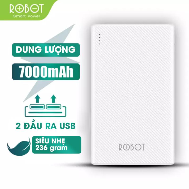 [Bảo Hành 12 tháng 1 đổi 1] Pin sạc dư phòng 7000mAh Robot RT7500 Công suất 12w 2 cổng sạc vào 2 đầu ra USB nhỏ gọn – (Bảo hành 1 đổi 1)