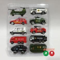 Hộp 10 xe ô tô đồ chơi cứu hỏa, cảnh sát, quân sự, máy bay, xe tăng cho các bé trai