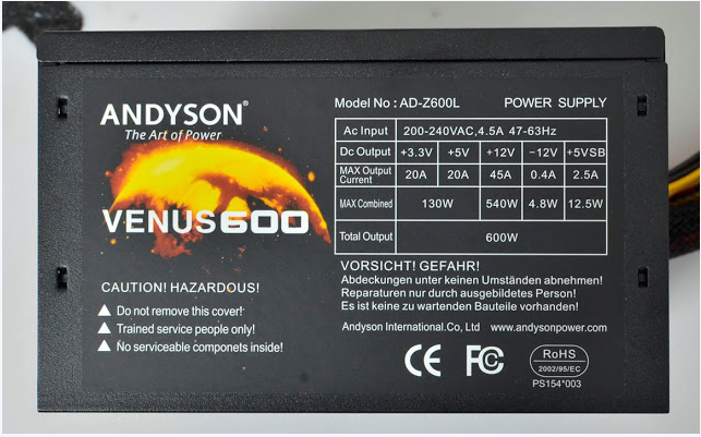 Nguồn máy tính AndysonVenus 600W