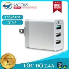Đầu sạc Củ sạc Cốc sạc Qualcomm 3.0 sạc nhanh 2.4A 3 cổng sạc USB đảm bảo an toàn sạc nhanh Android lẫn IOS đều sử dụng được
