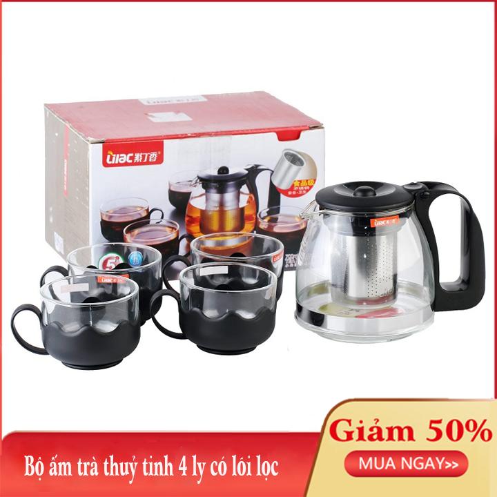 Bình trà – Bộ ấm trà thuỷ tinh có túi lọc INOX dung tích 700ML + tặng kèm 4 LY THUỶ TINH dung tích 300ML SG-T027