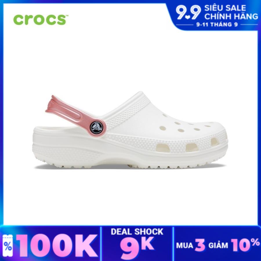 CROCS Giày lười clog unisex Classic Pop Strap 206638-1DH