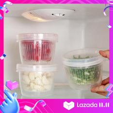 Houseeker Hộp tròn kín dùng lưu trữ hành, tỏi, gừng, trái cây vào tủ lạnh, chất liệu nhựa dẻo trong suốt, kích thước 11.3*8.5cm – INTL