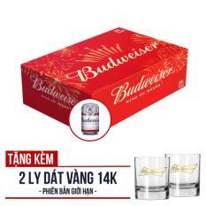 Budweiser Lon 330ml – Thùng 24 (Phiên bản Tết) – Tặng 2 ly dát vàng 14K