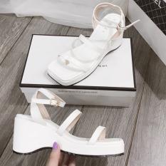 (Bảo hành 12 tháng) Giày sandal đế xuồng nữ đế gợn sóng phối quai ngang cách điệu – Giày đế xuồng nữ cao 7cm – Giày nữ da mềm 2 màu Trắng và Đen – Linus LN237