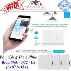 [TIẾT KIỆM 40%]Combo 03 công tắc cảm ứng, điều khiển từ xa Broadlink TC2 chuẩn US – 2 phím (Mặt hình chữ nhật) – Phụ kiện nhà thông minh SmartHome