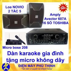 Dàn karaoke gia đình Dàn karaoke gia đình hay, Dàn karaoke giá rẻ CẶP LOA NOVIO 2T5 VÀ AMPLY KARAOKE AVECTOR 607A TẶNG 2 MICRO KHÔNG DÂY – TẶNG USB BLUETOOTH